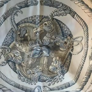 Hermes Paris Ivory Ors Nomades 90cm Scarf
